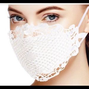 3D Lace face mask covering white black